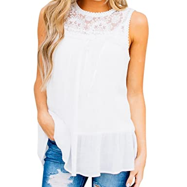 4eae0f6c34d Misaky Women Girls Summer Tops Sleeveless Lace Loose Crop Tops Tank Tops  Tops T-Shirt at Amazon Women s Clothing store