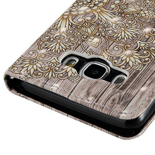 Samsung Galaxy J5 2016 PU Cuero Funda, Vandot 3D Bling Rhinestones Mariposa Shell TPU Inner Bumper Case Funda con Billetera Tapa Holster Cierre Magnético Tarjeta Ranura Carcasa Teléfono Concha Bolsa C 3D PT 02