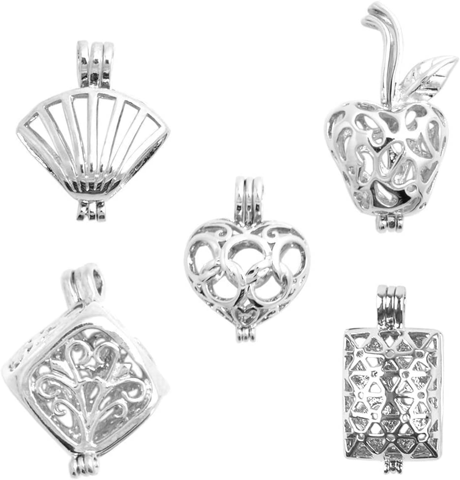 Silver Alloy Pearl Bead Cage Pendant Locket Pendants Charms Jewelry Findings