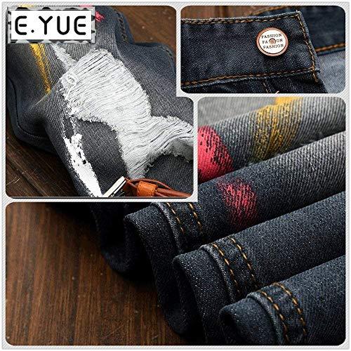 Pantaloni Strappati Denim Uomo Classiche Jeans Nero Casual Allentata Simplicity Con Ragazzi Da Cerniera Retrò xCIqvfA