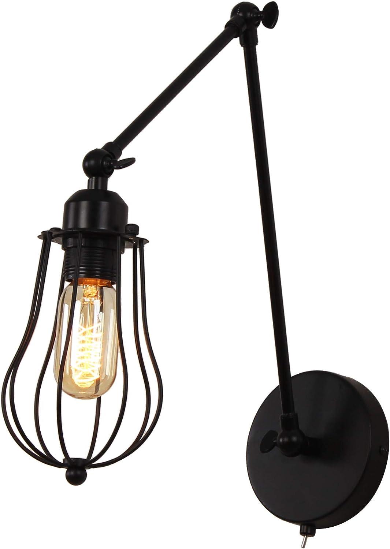 MantoLite Aparato de iluminación al lado con pantalla de hierro, Scone de pared con pantalla de jaula Lámparas de pared con brazo oscilante con interruptor para lámpara de lectura junto a la cama (B)