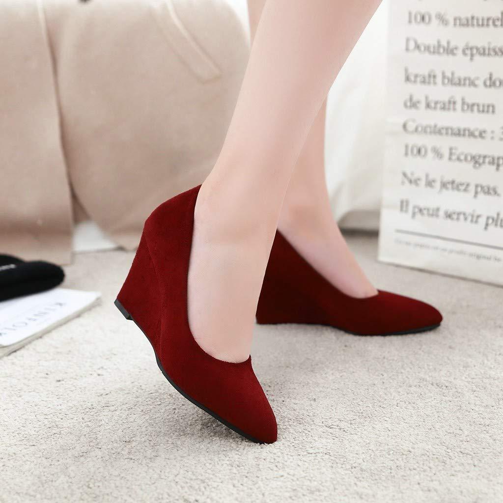 Yukun Schuhe mit hohen Absätzen Herbst Große Größe Damenschuhe Wildleder High Heels Wies Wedges Einzelne Schuhe Weibliche Wilde Pendler Arbeitsschuhe