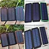 3pcs. Solar Panels Rechargeable Charger, Coversuit Dual USB Solar Battery Charger External Battery Pack Phone Charger Power Bank with LED Flashlight (4 UNITS)