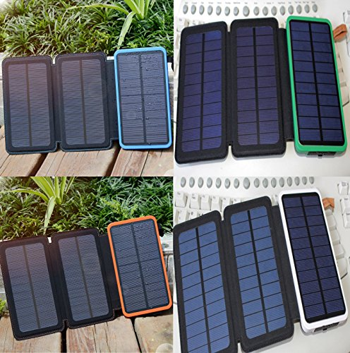 3pcs. Solar Panels Rechargeable Charger, Coversuit Dual USB Solar Battery Charger External Battery Pack Phone Charger Power Bank with LED Flashlight (4 UNITS) by Coversuit