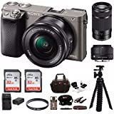 Sony Alpha a6000 Mirrorless Camera (Graphite) w/ Sigma 30mm f/2.8 & Sony 55-210mm Lenses & 64GB Bundle