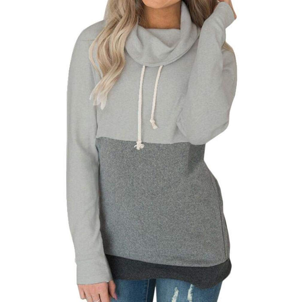 XOWRTE Long Sleeve Hoodie Sweatshirt Women Hooded Pullover Blouse Fashion Casual Color Block Jumper Gray Top