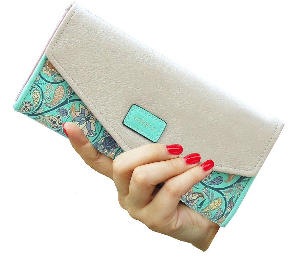 SeptCity Womens Wallet Floral Leather Western Bifold Clutch-Green by SeptCity (Image #2)