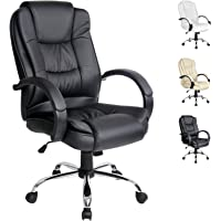 Artiss Executive Office Chair Faux Leather Padded Computer Home Work Seat High Back Black Adjustable Height Chrome Base