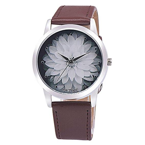 Poto 2017 nueva moda mujer flor piel analógico cuarzo Vogue reloj de pulsera: Amazon.es: Relojes
