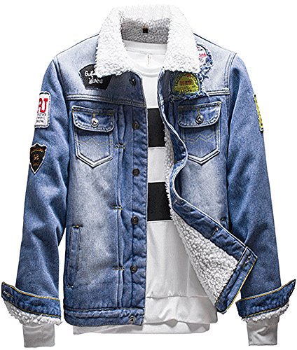 LifeHe Men's Winter Fleece Lined Fur Collar Patches Denim Jacket Coats (X-S, Blue)