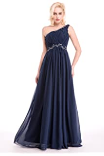 One Shoulder Womens Formal Evening Gowns Floor Length Chiffon Prom Dresses Navy Blue