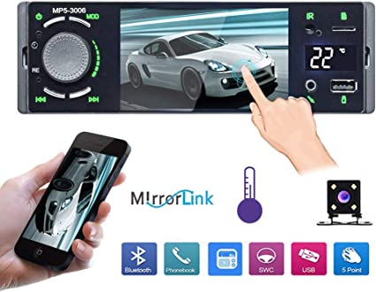 Rear View Camera UNITOPSCI Single DIN Car Radio 4.1 Touch Screen Car Stereo Multimedia Player FM Receiver MP5 Player with Bluetooth Hands Free Calls//Remote Control//USB//AUX Input//Mirror Link