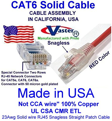 Made in USA, Vaster SKU -81977 - 4 Ft (20 Pcs / Pack) Cat6 Patch Cable RED (