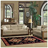 Superior Santa Fe Collection 2'7'' x 8' Runner Rug, Attractive Rug with Jute Backing, Durable and Beautiful Woven Structure, Bright and Bold Southwest Style - Black