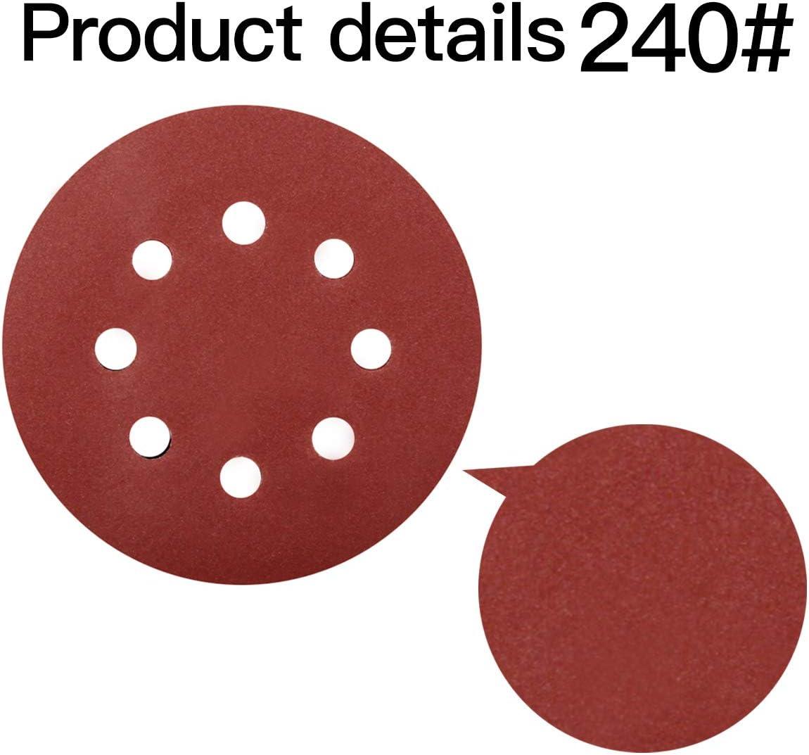 Deefoml Lot de 40 disques de pon/çage 60 # 80 # 120 # 240 # 8 trous pour ponceuse orbitale al/éatoire