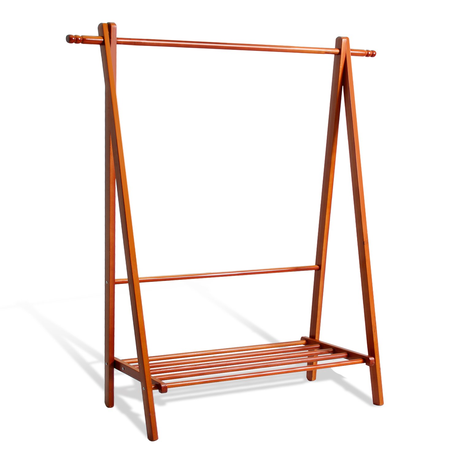 soges Garment Clothing Rack 47 inch Solid Wood Coat Stand Storage Rack with Shelf for Hats, Bags, Shoe, Clothes Living Room Furniture, Teak BS2007-TK