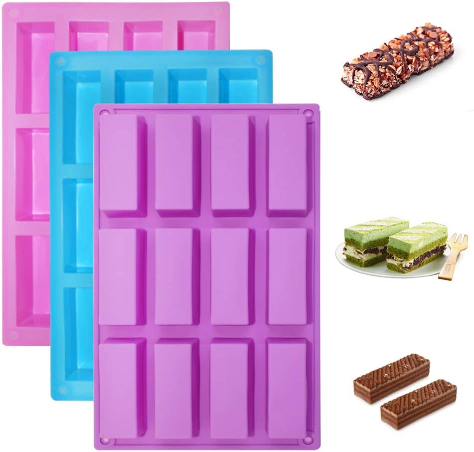 SENHAI 3 Pack Narrow Rectangle Silicone Molds, 12-Cavity Flexible and Non-stick DIY Protein Bars Energy Bar Cereal Bar Maker Chocolate Cake Loaf Brownie Cheesecake Baking Pans - Pink, Blue, Purple
