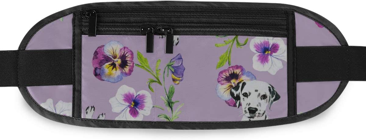 Dalmatian Flowers Running Lumbar Pack For Travel Outdoor Sports Walking Travel Waist Pack,travel Pocket With Adjustable Belt