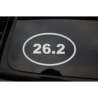 Five Star Graphics 26.2 Oval Marathon Mens Womens Vinyl Sticker Decal (V149) Jogging Running Run (White): Automotive