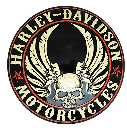 Sign Tin Flying (Harley-Davidson Embossed Flying Skull Button Round Tin Sign, 14 inch 2011281)