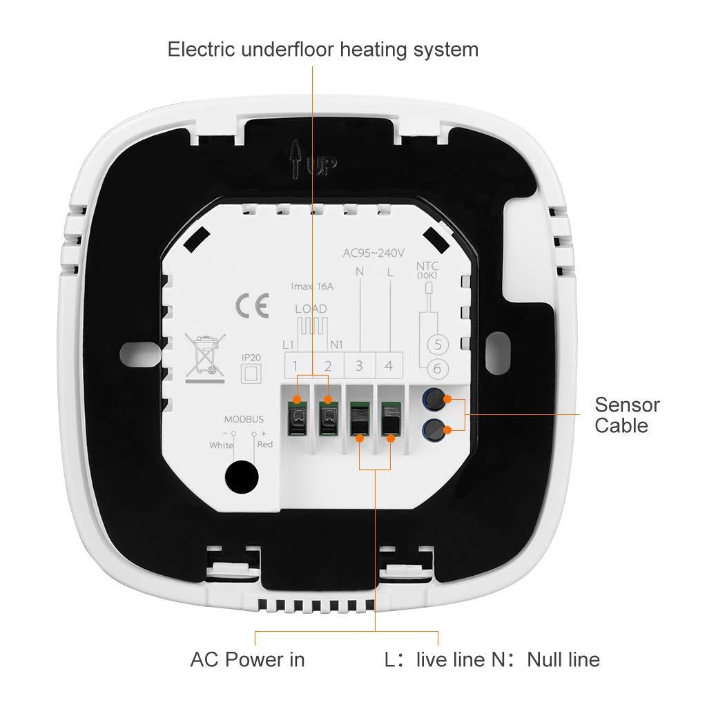 Floureon Thermostat dambiance /à /écran tactile avec thermostat programmable Blanc Backlight Digital Smart Radiateur Radiateur Radiateur Radiateur Chauffage mural noir