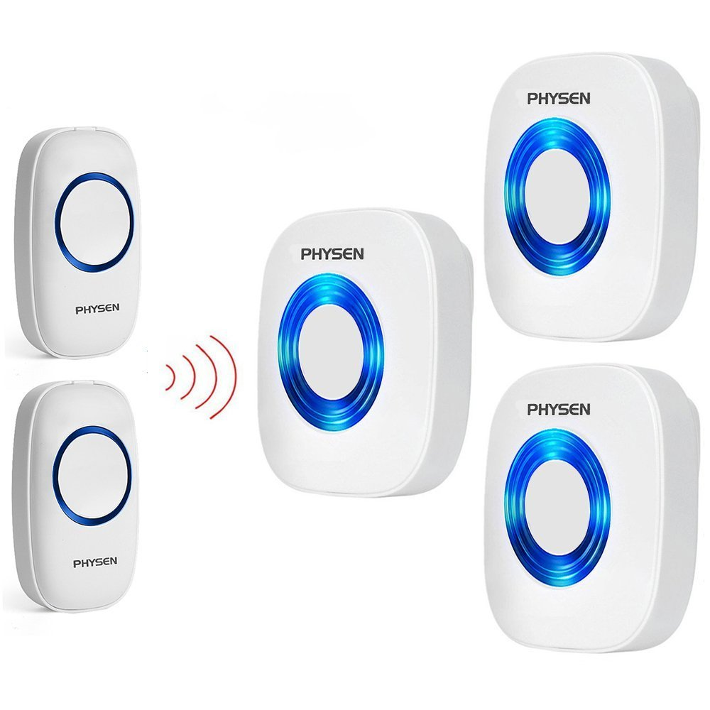 PHYSEN Model CW Wireless Doorbell kit with 2 Push Buttons and 3 Plugin Receivers,Operating at 1000 feet Long Range,4 Volume Levels and 52 Melodies Chimes,No Battery Required for Receiver
