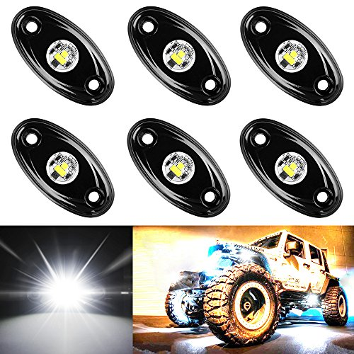 (Amak 6 Pods LED Rock Lights Kit White Underbody Glow Trail Rig Light Waterproof Underglow LED Neon Lights for JEEP Off Road Trucks Car ATV SUV Vehicle Boat – White)