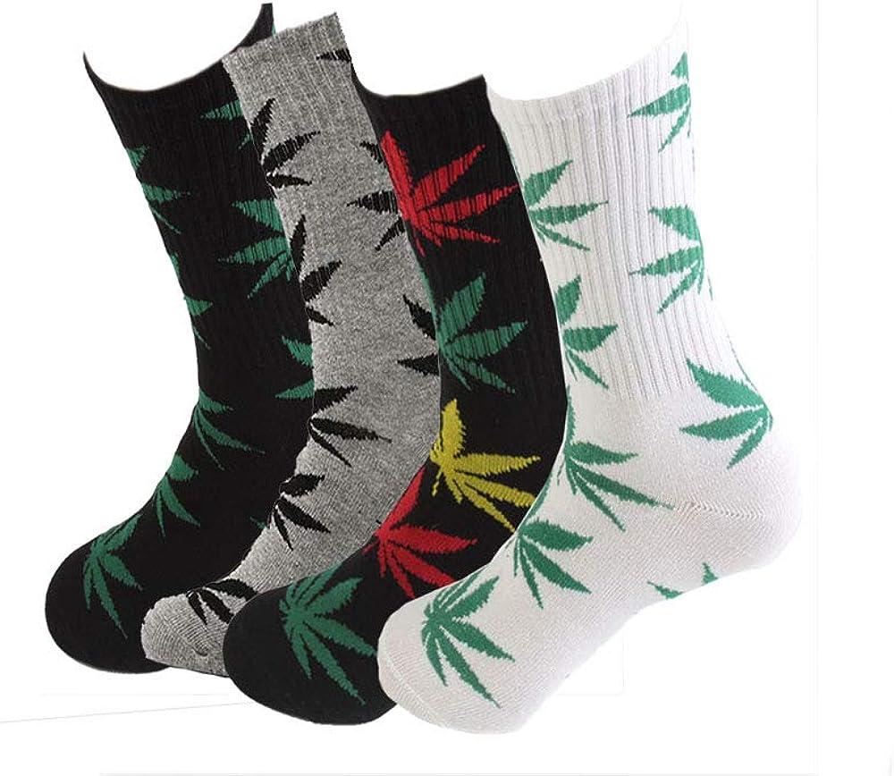 TTD 4 packs unisex hoja de malezas impresa algodón calcetines hoja de arce impreso calcetines atletismo deportes marihuana alta tripulación calcetines