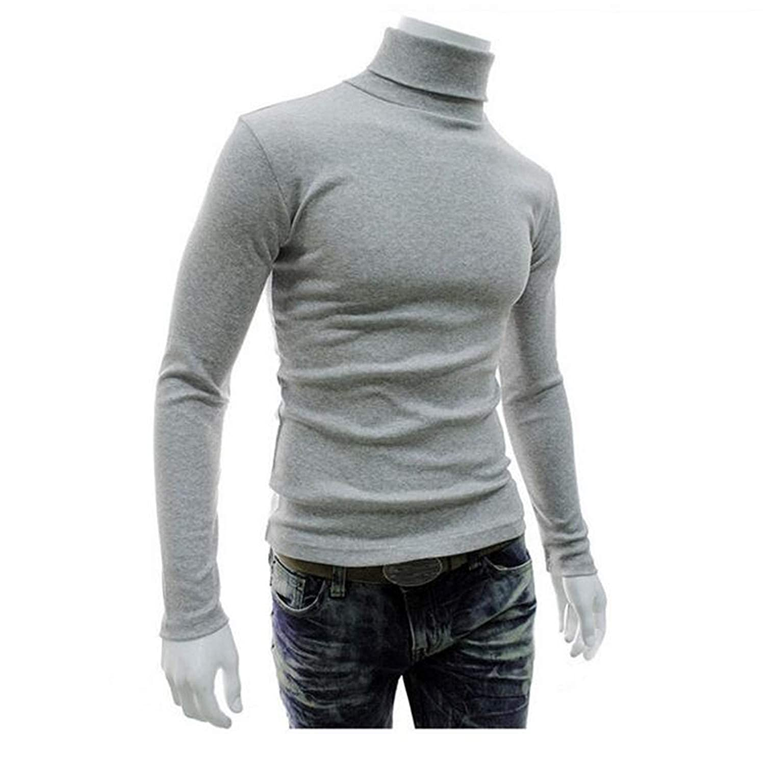 Susan1999 Autumn Winter Mens Sweater Mens Turtleneck Casual Sweater Mens Slim Fit Brand Knitted Pullovers