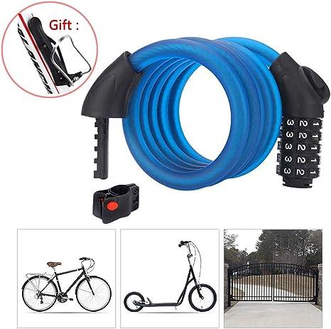 Candado Bici Combinacion con Código de 5 Dígitos,Cadena Bici con ...