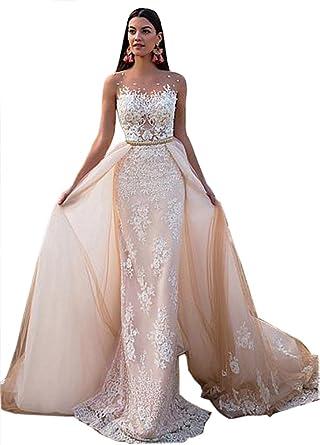 Tsbridal Detachable Skirt Wedding Dresses Lace Mermaid Wedding ...