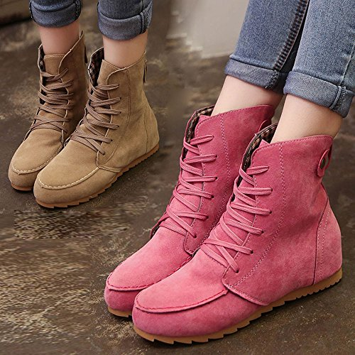 EU Up 39 Leather Female Size Elastic Flat Wedges Kahki Women Lace Toe Suede On Ankle Winter Autumn Up Lace Slip Boots Solid Motorcycle 34 Snow Boots Boot Byste Round Flat fv8ww