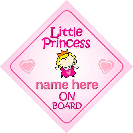 Non Personalised Child//Baby On Board Car Sign ~ Mummy /& Daddys Princess ~ Purple