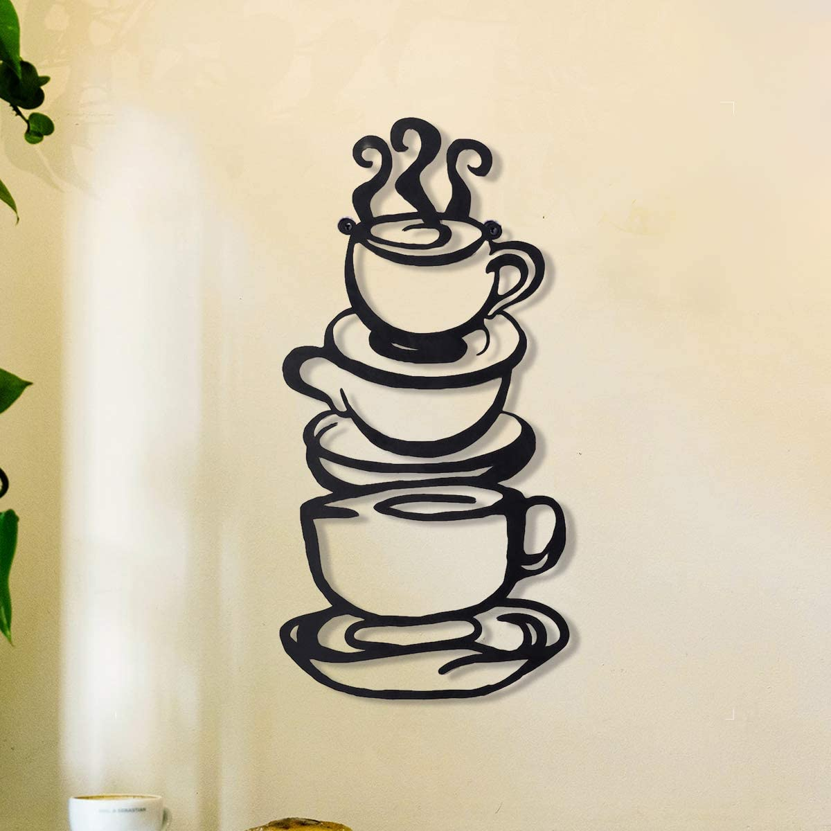 Coffee Cup Metal Wall Art, Farmhouse Kitchen Restaurant Decor Coffee Bar Sign, Black