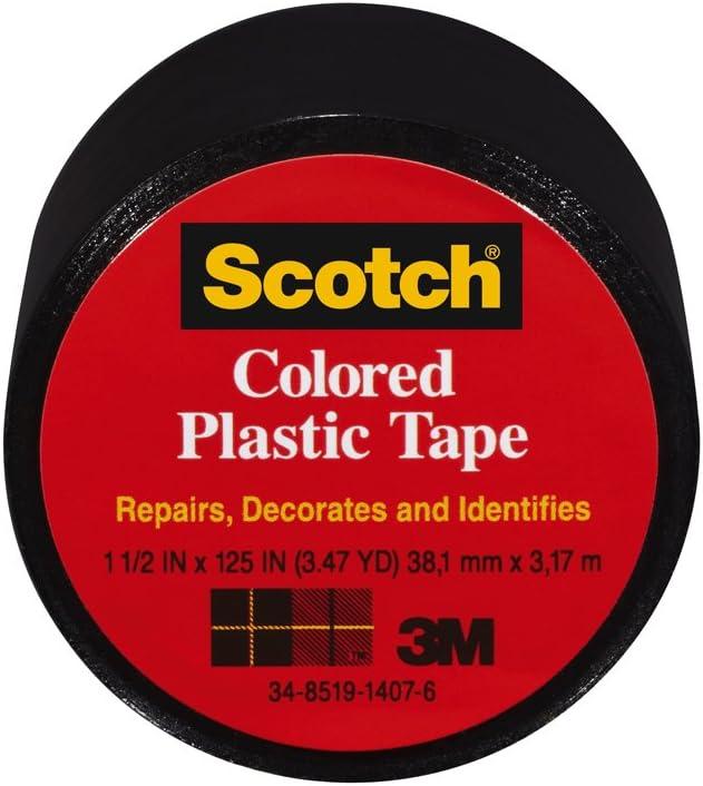 1.5 x 125-Inch Black Scotch 191BK-6 Colored Plastic Tape