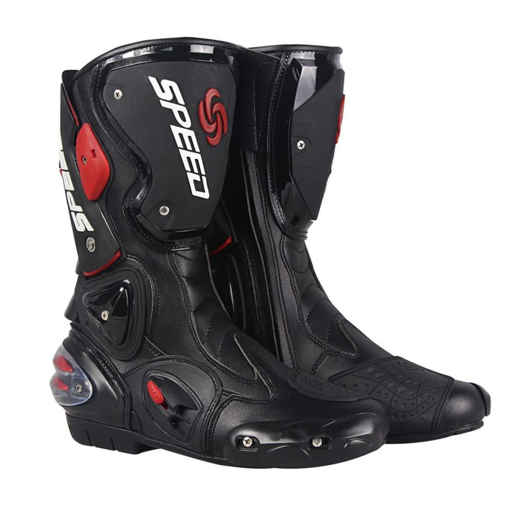 Meiyiu Botas de Carreras de Motos Botas de Motocross Profesionales Botas de Cuero para Motociclistas Botas de Carreras de Motos Speed Negro 41
