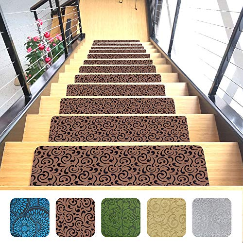 Indoor Stair Mats | Set of 14 | Ultra-Thin Microfiber Stair Carpet with Slip-Resistant Rubber Backing to Reduce Slipping Risk | Quick and Easy to Install (9