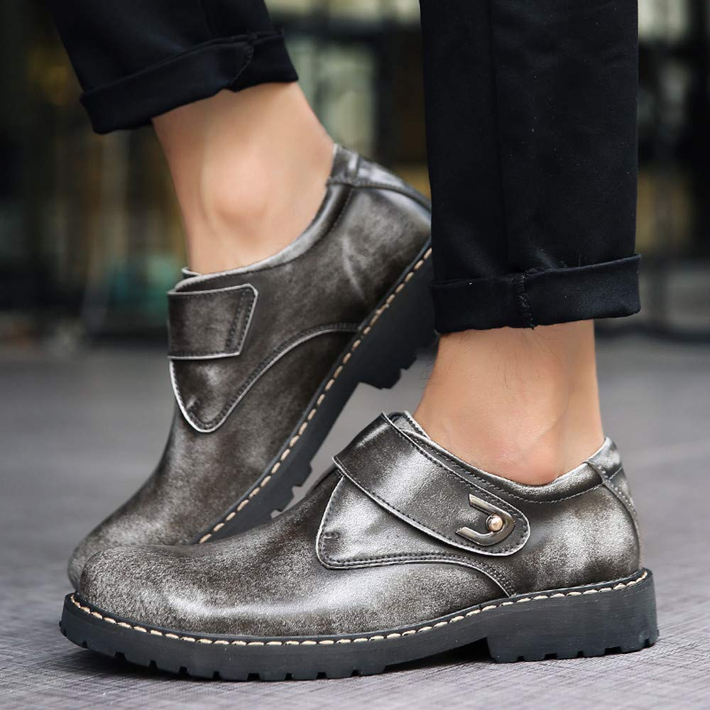 Fashion Mens Low-Heeled Round Head Tooling Shoe Non-Slip Business Leather Boots RedBrowm