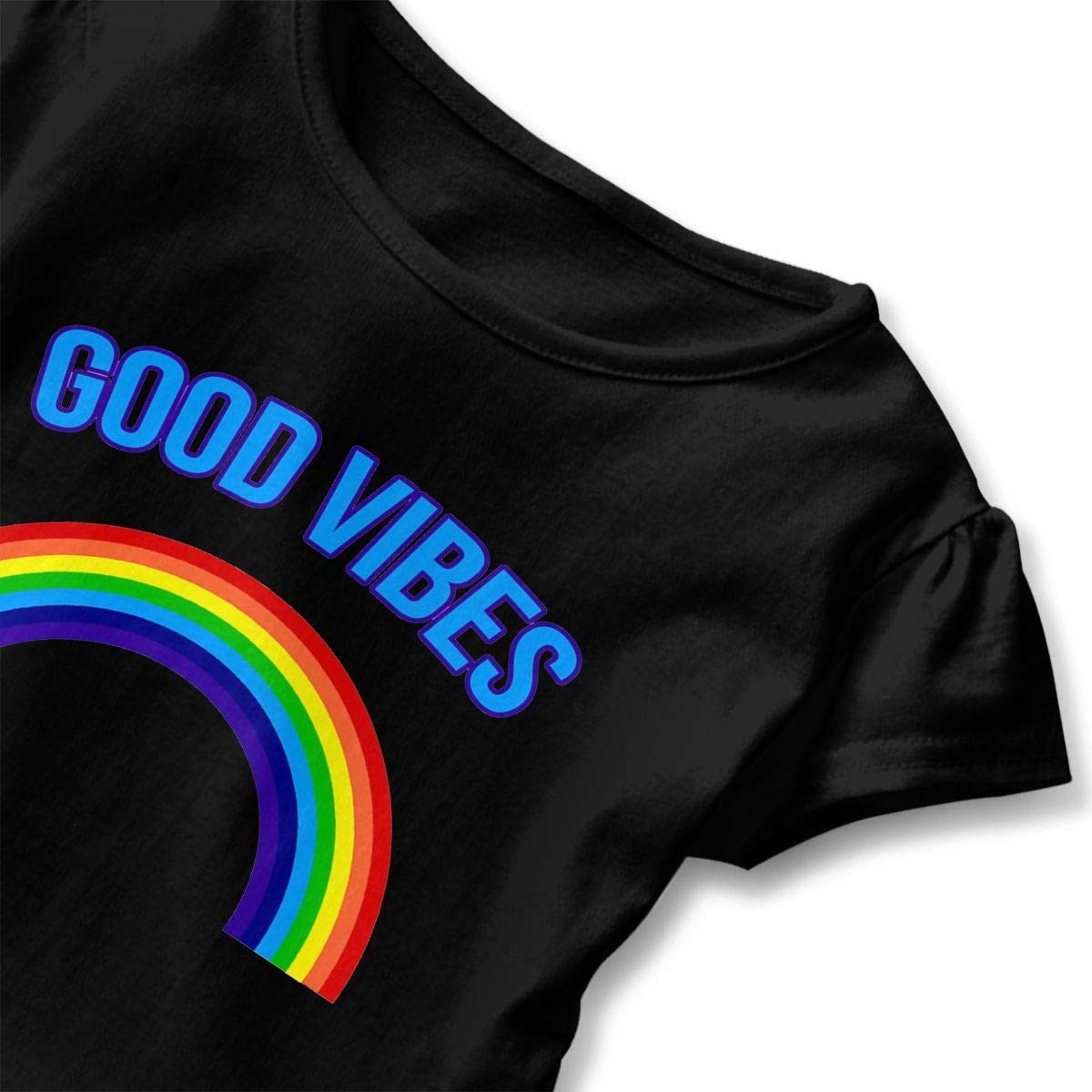 Rainbow Good Vibes Toddler Baby Girls Cotton Ruffle Short Sleeve Top Comfortable T-Shirt 2-6T