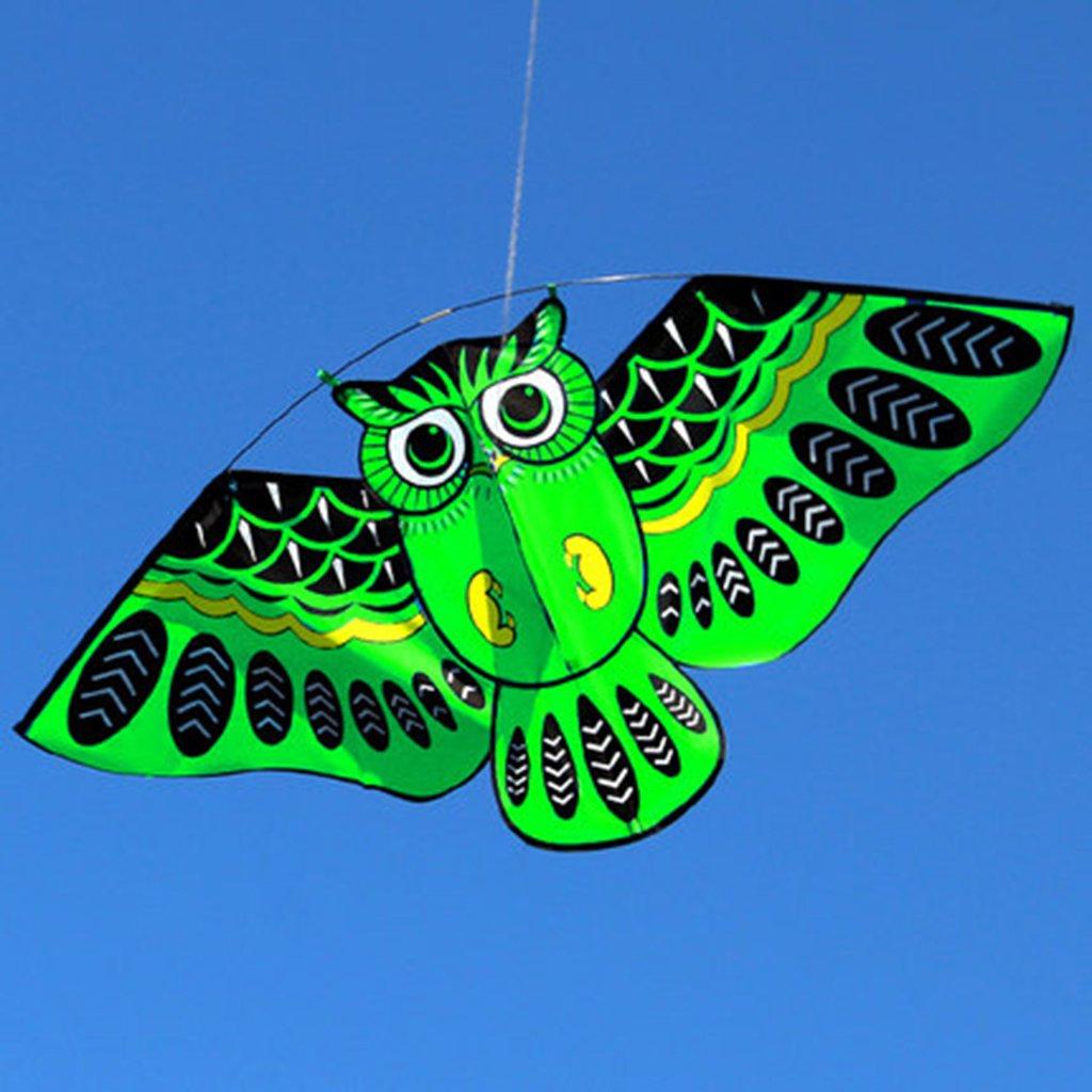 /Dibujos Animados b/úho Volando Cometas para ni/ños Adultos diversi/ón al Aire Libre Juguete Deportivo LANDUM Cometa para ni/ños Azul
