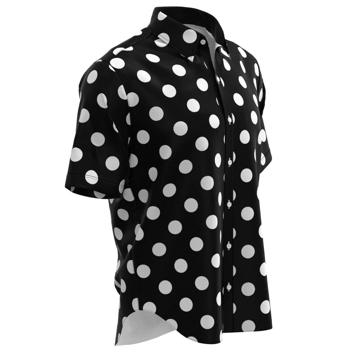 EightyThree XYZ White Dots on Black Polka Dot Mens Buttons Shirt XS-3XL