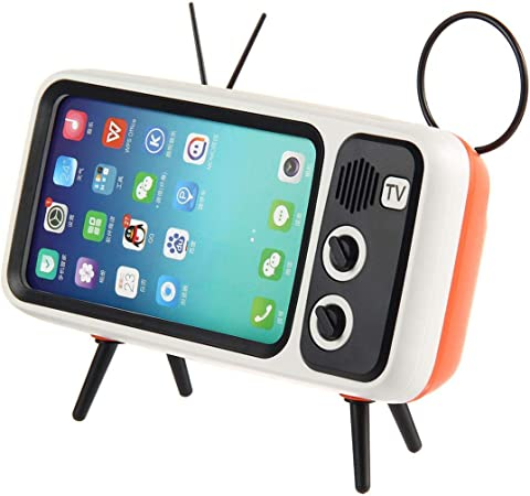Womdee 2 in 1 Retro TV Bluetooth Speaker Mobile Phone Holder ...