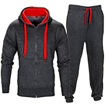 Mens Contrast String Fleece Hoodie Top Bottoms Joggers Gym Set Draw Code Tracksuit