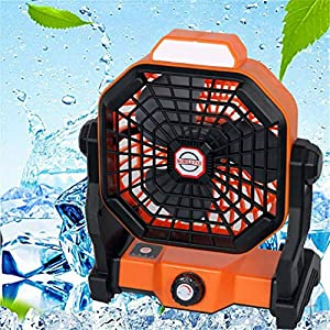 Portable Camping Fan with Light, 7800Mah Battery Powered Mobile Cooling Fan Non-Polar Speed Adjustment Silent Home Desk…