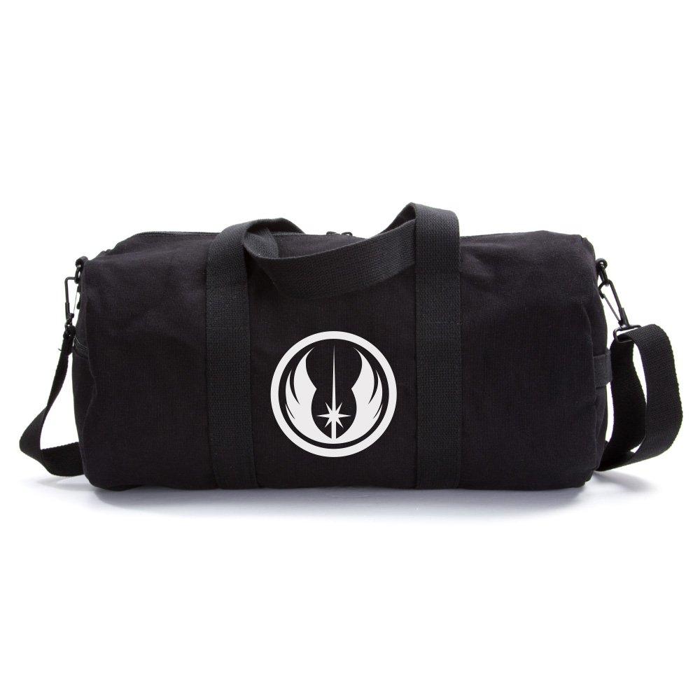 Jedi Order Logo Sport Heavyweight Canvas Duffel Bag in Black & White, Large