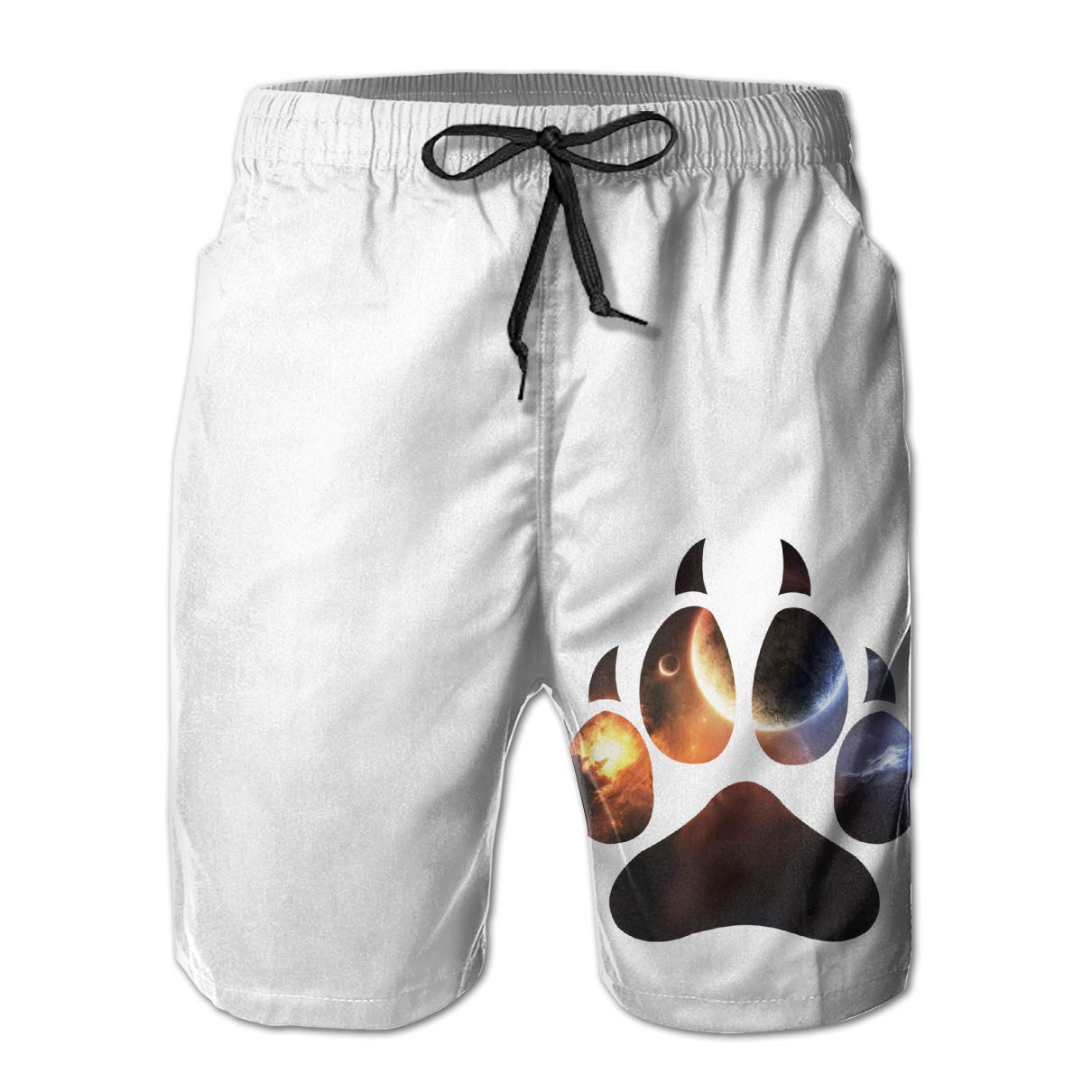 HZamora/_H Men Trippy Space Wolf Paw Summer Breathable Quick-Drying Swim Trunks Beach Shorts Cargo Shorts XL