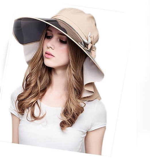 Lady Summer Full Transparent Brim Visor Hat Sunscreen Cycling Cap (Khaki) 6f2678f6f7a
