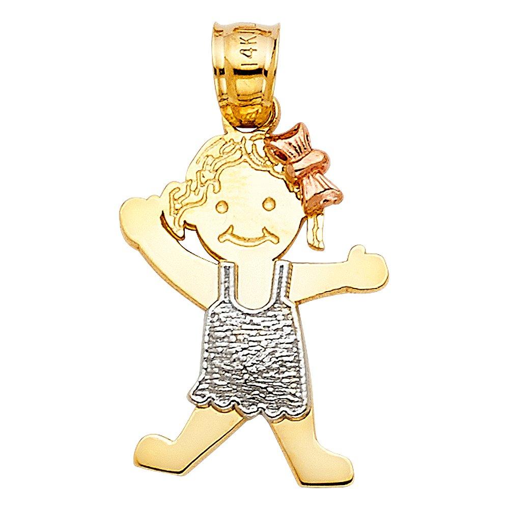 14k Tri Color Gold Girl Pendant Charm