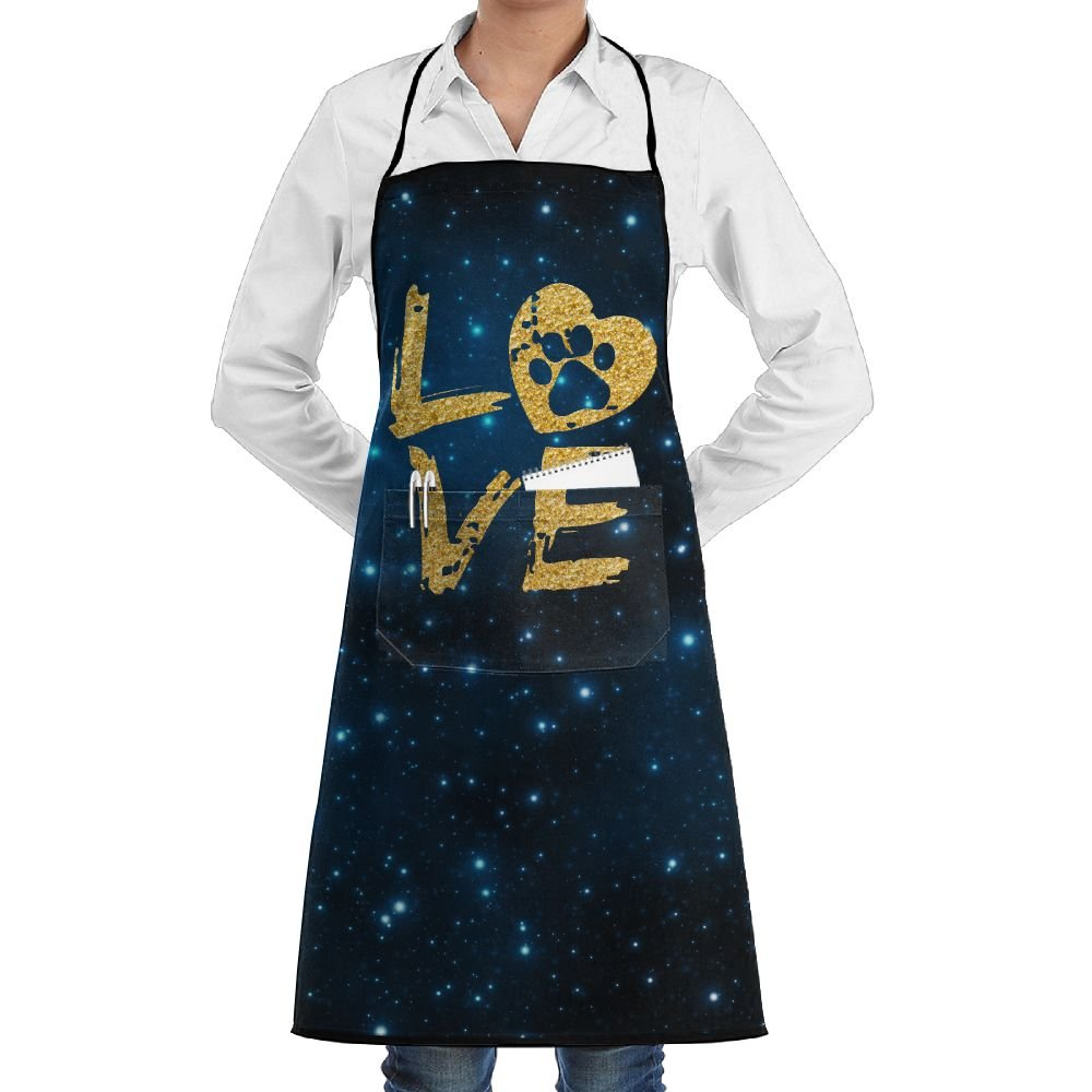 Love Paw Print In Heart Cooking Kitchen Aprons With Pockets Bib Apron For Cooking, Baking, Crafting, Gardening, BBQ