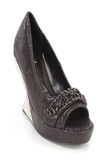 6008e041506d8d Black Gemstone Rhinestone Silver Curved Wedges Faux Leather Beaded High  Heels(7 Black)